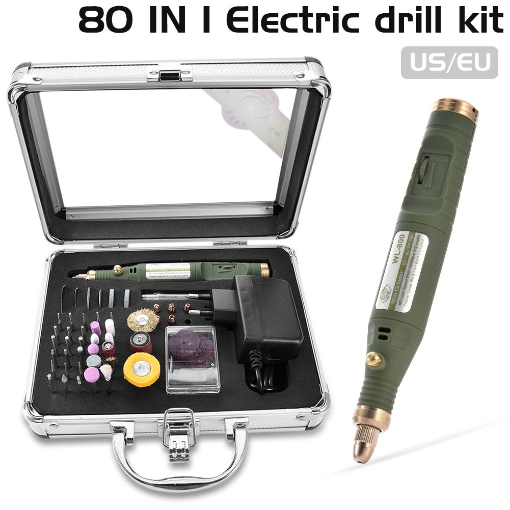80 In 1 Mini Electric Rotary Drill Grinder With Grinding Accessories Set Multi-Function Engraving Machine Power Tool Kit mini multi function table saw bench drill grinding machine with 100w high power cutting machine tool accessories