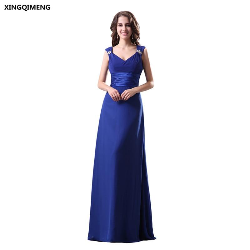 Royal Blue Cheap Simple Pleat Chiffon Bridesmaid Dresses V Neck ...