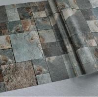 Modern 3D Retro Rock Stone Block Coffee Shop Background Wallpaper 3D stone mural wallpaper roll