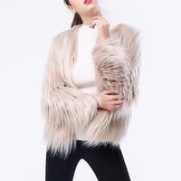 Fashion Furry Fur Coat Women Fluffy Warm Outerwear Long Sleeve Autumn Winter Coat Jacket Female Hairy Collarless Overcoat Tops