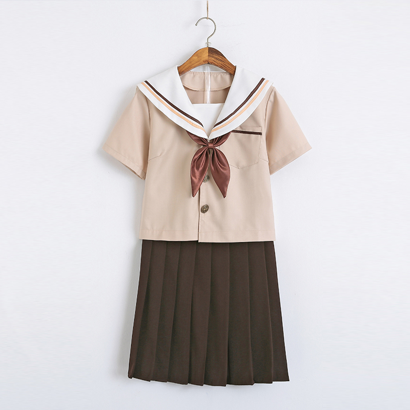 New Arrival Sailor School Uniform Sets JK School Uniforms For Girls Khaki Shirt And Brown Skirt Suits Student Cosplay S-2XL