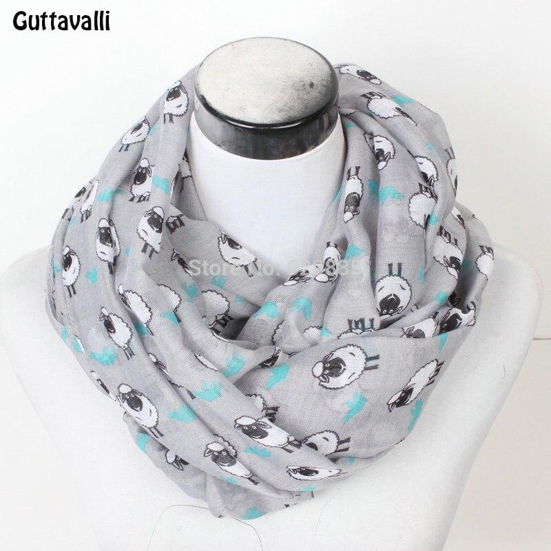 Guttavalli New Women Sheep Ring Scarf Lovely Flower Chevron Print Loop Scarves Female Goat Infinity Shawl Stripe Animal Wrap