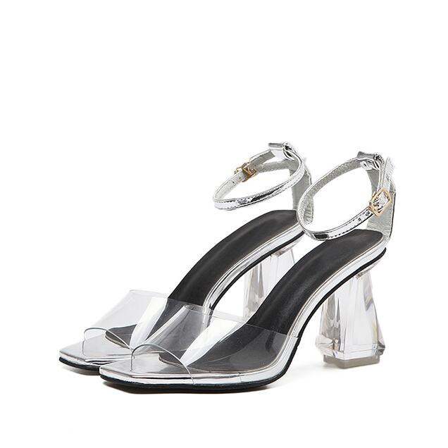 59709a4617001 Silver Pure Clear Crystal High Heel Sandals Open Toe PVC Shoes Formal  Maryjanes Bridal Shoes