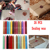 2018 New Arrival 26Pcs Colorful Vintage Manuscript Sealing Seal Wax Sticks Wicks For Postage Letter With