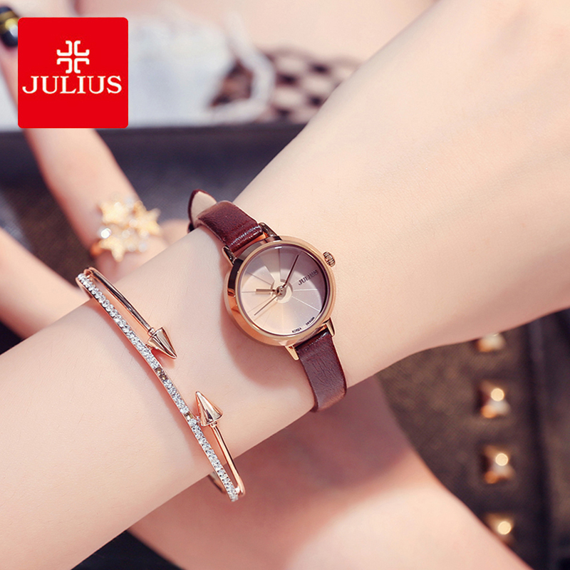 Julius Lady Casual Small Dial Leather Watch Woman Brand Waterproof Quartz Creative Wrist Watches Female Dress Clock Reloj Mujer