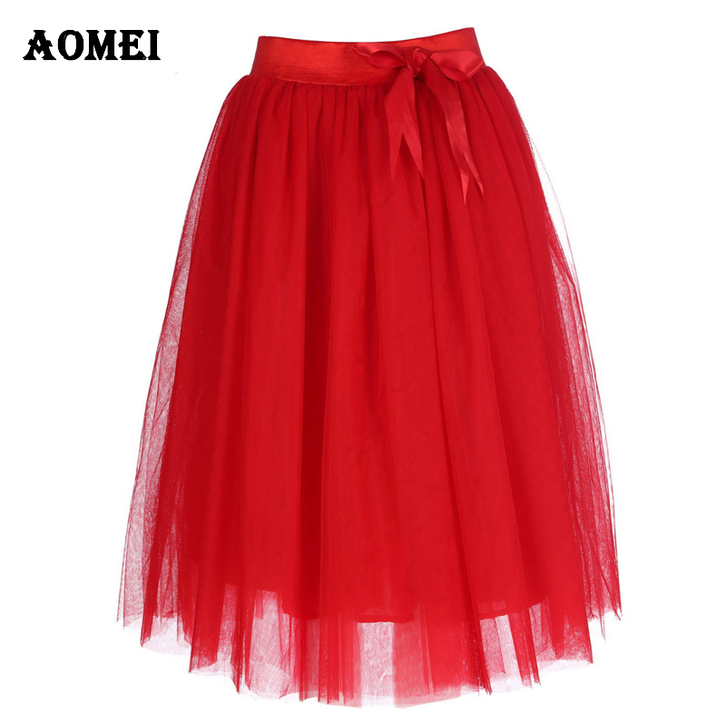 5XL XXL Women Red Tulle Midi Skirt With Bow Tie Lolita Ladies Elegant Bridal Fashion Skirts Jupe Zipper High Waist Saia Clothes