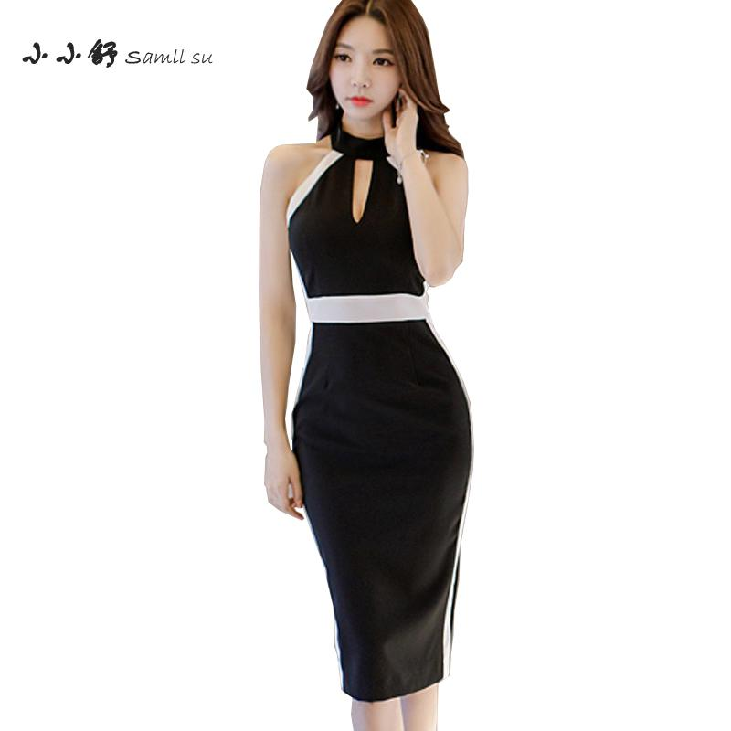 Small Su 2017 Summer Black White Halter Sleeveless Sexy Party Bandage Bodycon Pecil Dresses Women Vestidos De Fests Mujer Longe