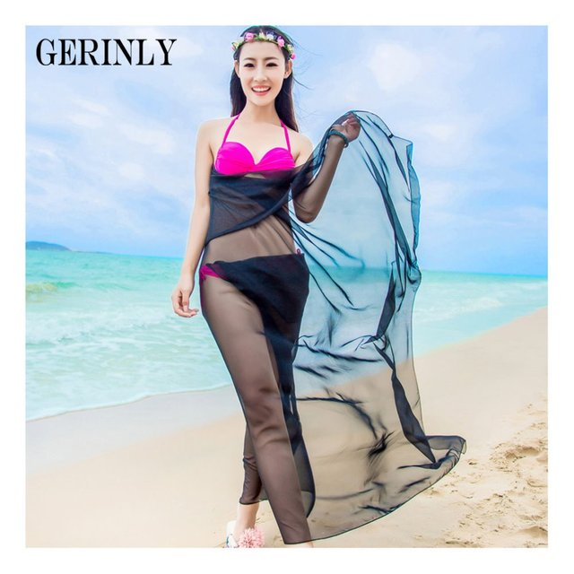 7cafb8086bd71 Beach Pareo Scarves Women Solid Color Chiffon Sarong Wrap Shawls Swimsuit  Cover Ups Fashion Brand Bikini