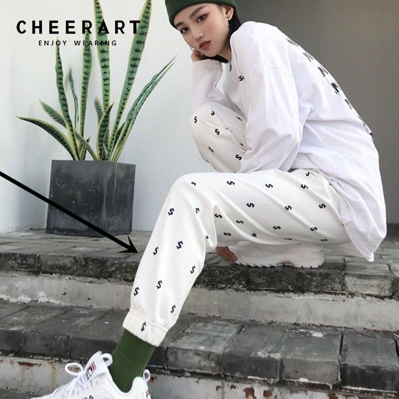 Cheerart Sweatpants Women Workout Pants Elastic Waist Loose Print Joggers Pants Long Trousers Women Summer 2018