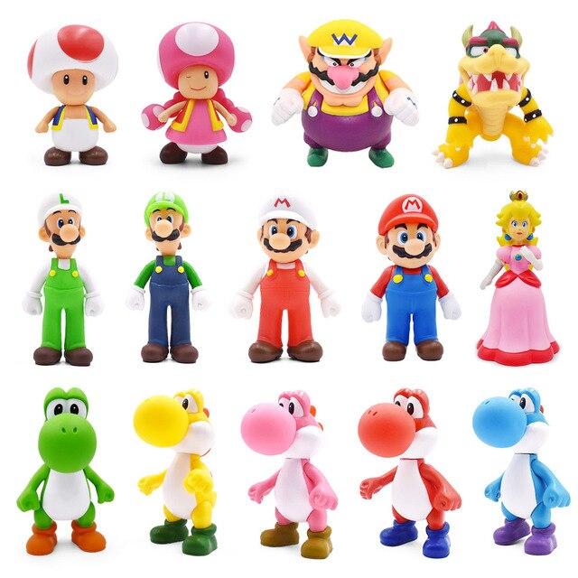 8 15cm Super Mario Figure giocattoli Mario Bros Bowser Luigi Koopa Yoshi Mario Maker Odyssey PVC Action Figure modello bambole giocattoli regalo
