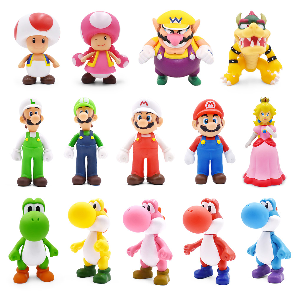 8-15cm Super Mario Figures Toys Mario Bros Bowser Luigi Koopa Yoshi Mario Maker Odyssey PVC Action Figure Model Dolls Toys Gift
