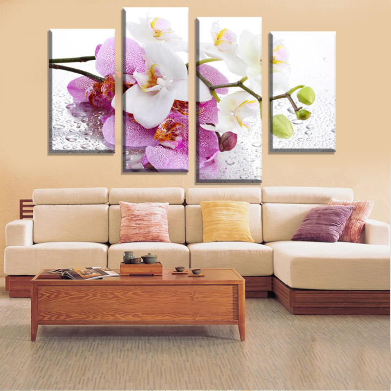 Large Wall Pictures For Living Room: Unframed 4 Pcs Hot Sell Butterfly Pink Flowers Wall Art