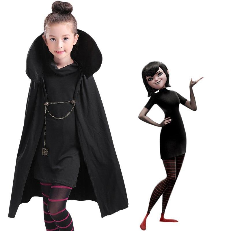 Cartoon Hotel Transylvania Mavis Cosplay Costume Fancy Girls Black Cape Coat With T-shirt pants Halloween kids/adult Costume