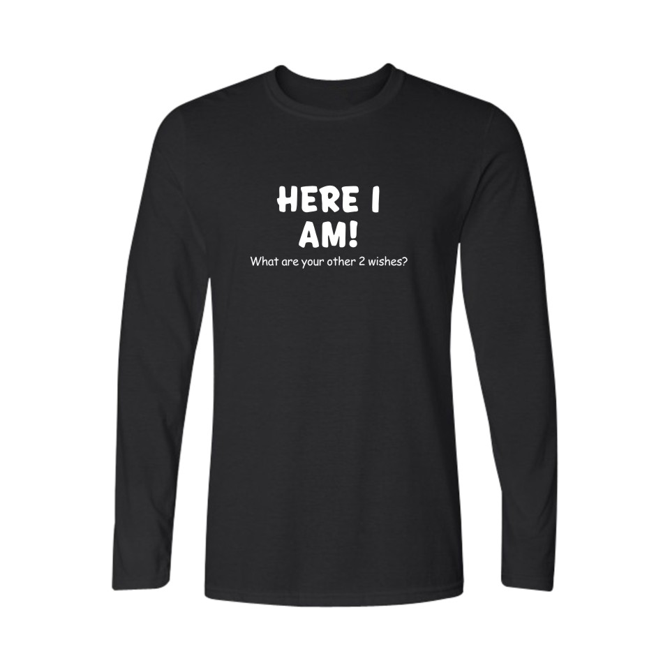 Slogan <font><b>Here</b></font> <font><b>I</b></font> <font><b>Am</b></font> Funny Autumn Long T-shirt Men Hip Hop O-Neck Tshirts Cotton Men 4xl Plus Size Tee Shirt Men Brand Hip Hop
