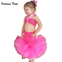 Toddler Baby Girl Handmade Little Mermaid Dress Princess Tulle Tutu Dress Ariel Cosplay Costume For Party