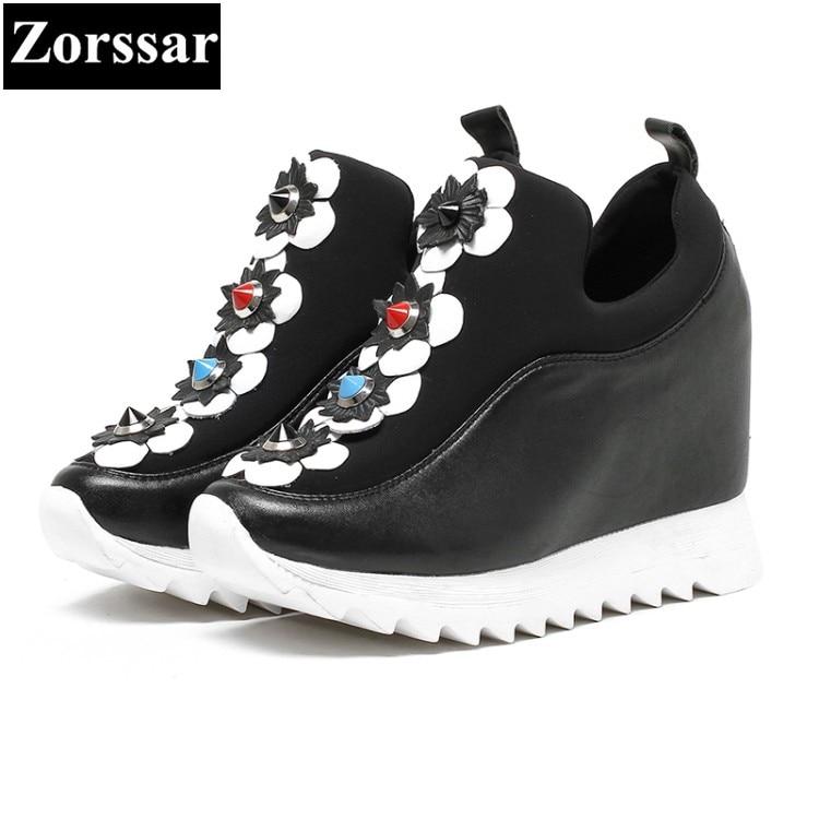 Altura {zorssar} 2017 Mujer Mujeres Señoras Zapatos Aumento La De Plataforma Bombas Alto Las Negro Casuales blanco Cuña Moda Flores Tacón raq1rdWwp