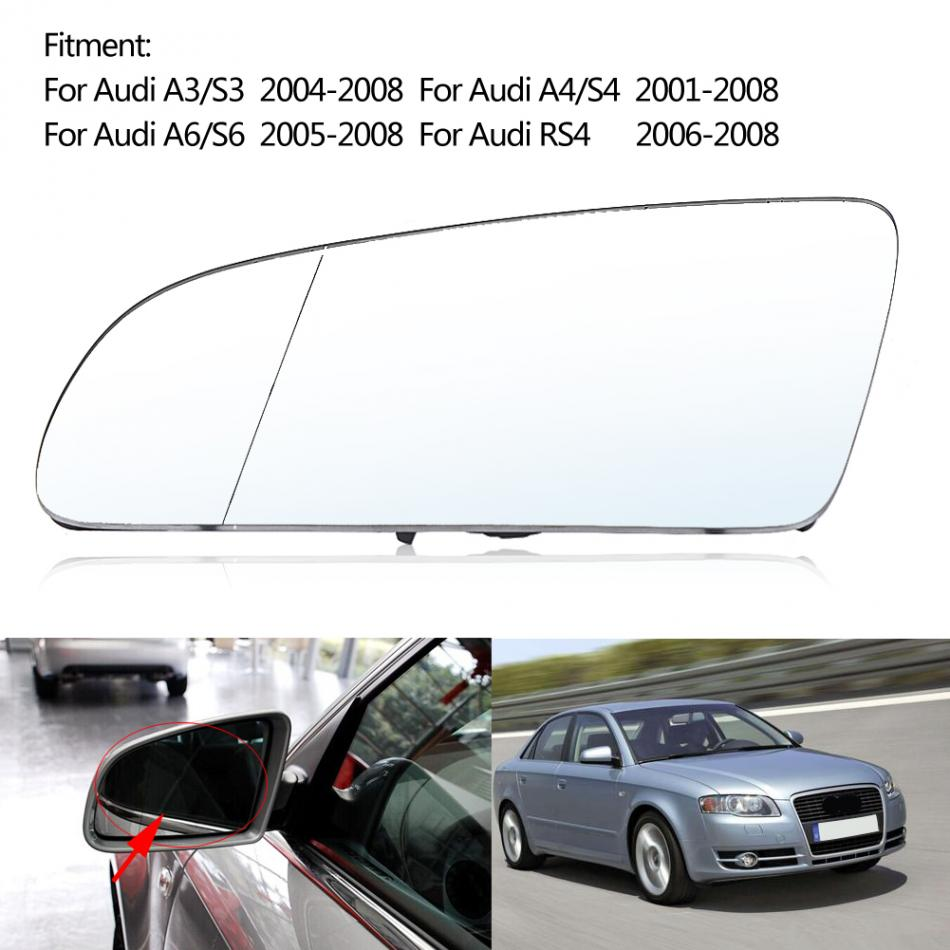 Car Left Side Wing Mirror Glass for Audi A3 A4 A6 RS4 2001-2008 8E0857535E Auto Rearview Mirror cafoucs car door wing rearview mirror led turn signal light side indicator lamp for audi a4 b8 a6 c6 a3 a5 a8 q3 2008 2011