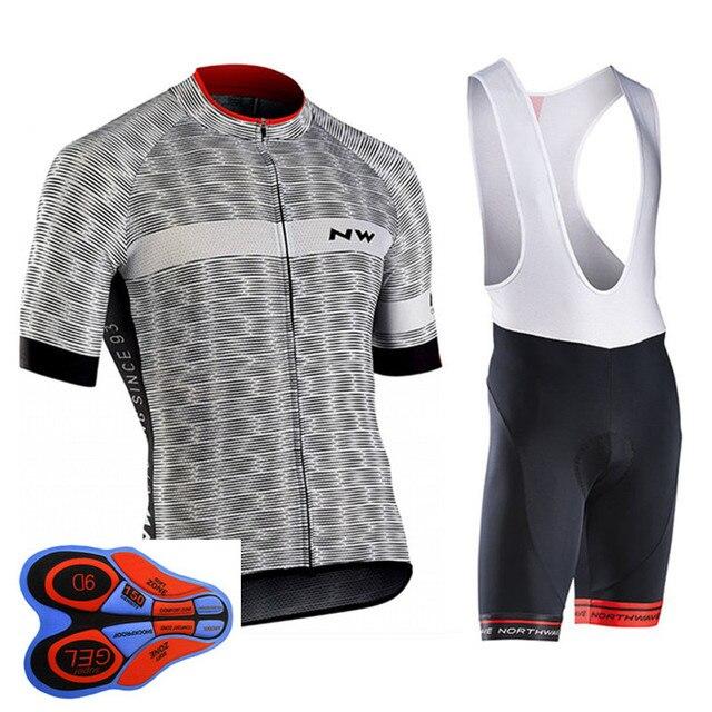 NW 2019 קיץ רכיבה על אופניים ג 'רזי קצר שרוול סט אופני אופניים ביגוד ropa Ciclismo uniformes מחזור בגדי מאיו סינר מכנסיים קצרים #7