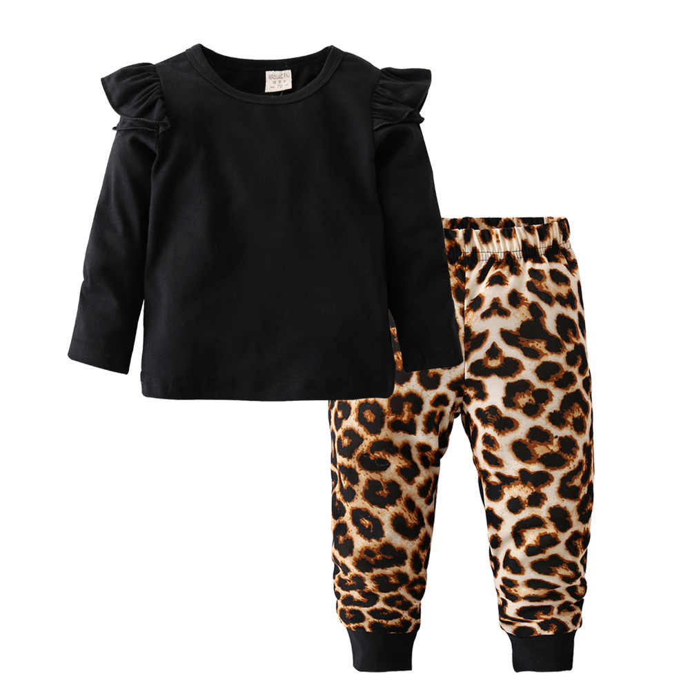 e9d0eb79c800e Fashion Cool Baby Girls Clothing Set Cotton Long Sleeve Black Tops+Leopard  Pants Casual Toddler
