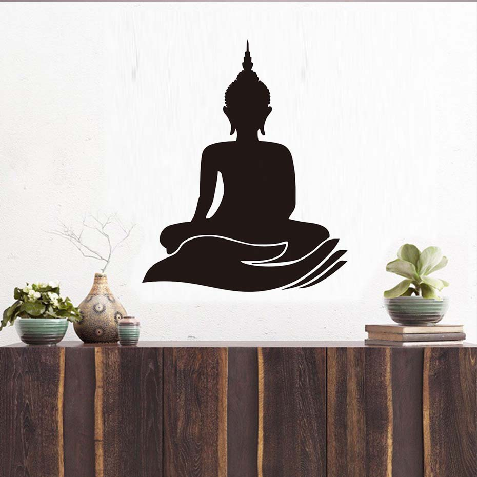 Indian Design Buddha Wall Stickers Home Decor Lotus Flower Buddhism
