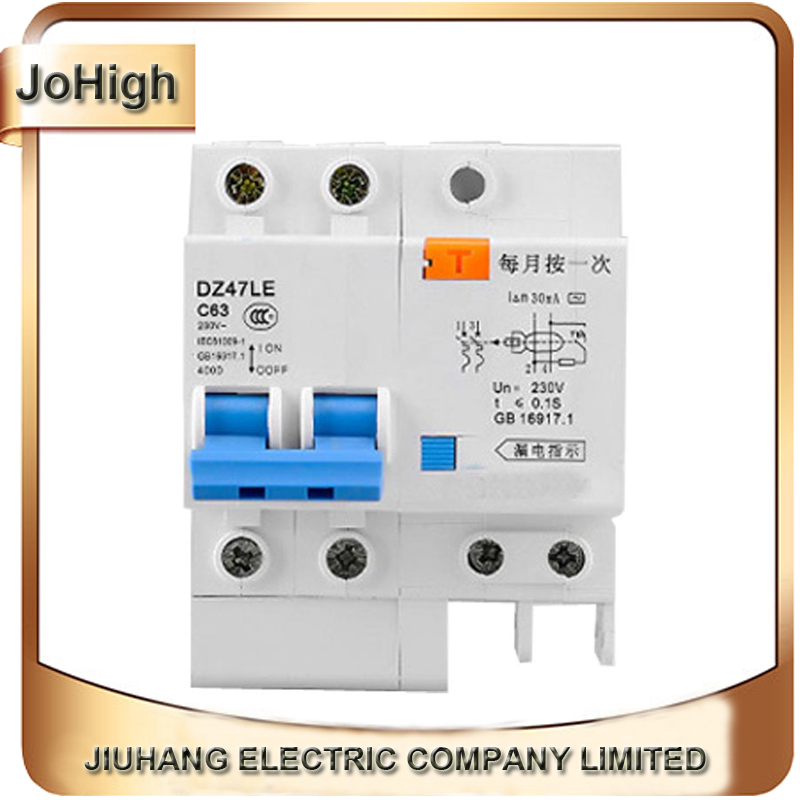 Free Shipping Household DZ47LE 63A earth leakage circuit breaker 2P C63 400V dz47le 3p n 40a 30ma 230 400v small leakage circuit breaker dz47le 40a household leakage protector switch