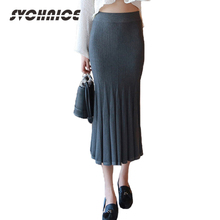 Nouveau 2016 Mode Automne Hiver Femmes Jupe Taille Haute Élastique Sexy  Plissée Maxi Jupes Longues Femmes Lady Jupes Femme 8fb0a9792f75