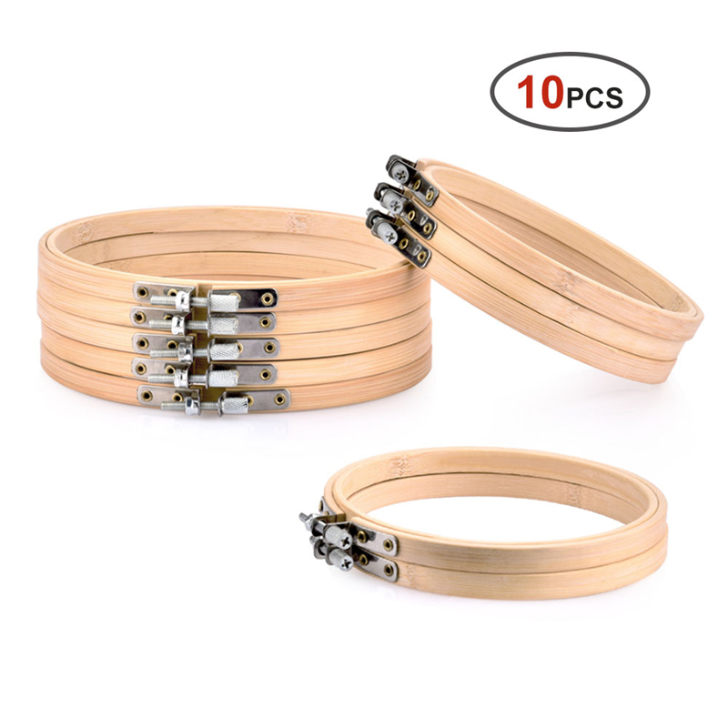 10pcs/Set 13cm/15cm Practical Embroidery Hoops Frame Set Bamboo Wooden Embroidery Rings For DIY Cross Stitch Needle Craft Tools