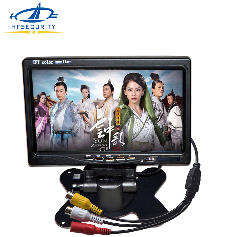 7 Inch Monitor TFT LCD 800*480 Color 16:9 Screen 2 Way AV Video Input For Rear View Backup Reverse Camera DVD VCD DC 12V diykit 9 inch tft lcd car monitor display car reverse rear view monitor screen with bnc av input remote control dvd vcr