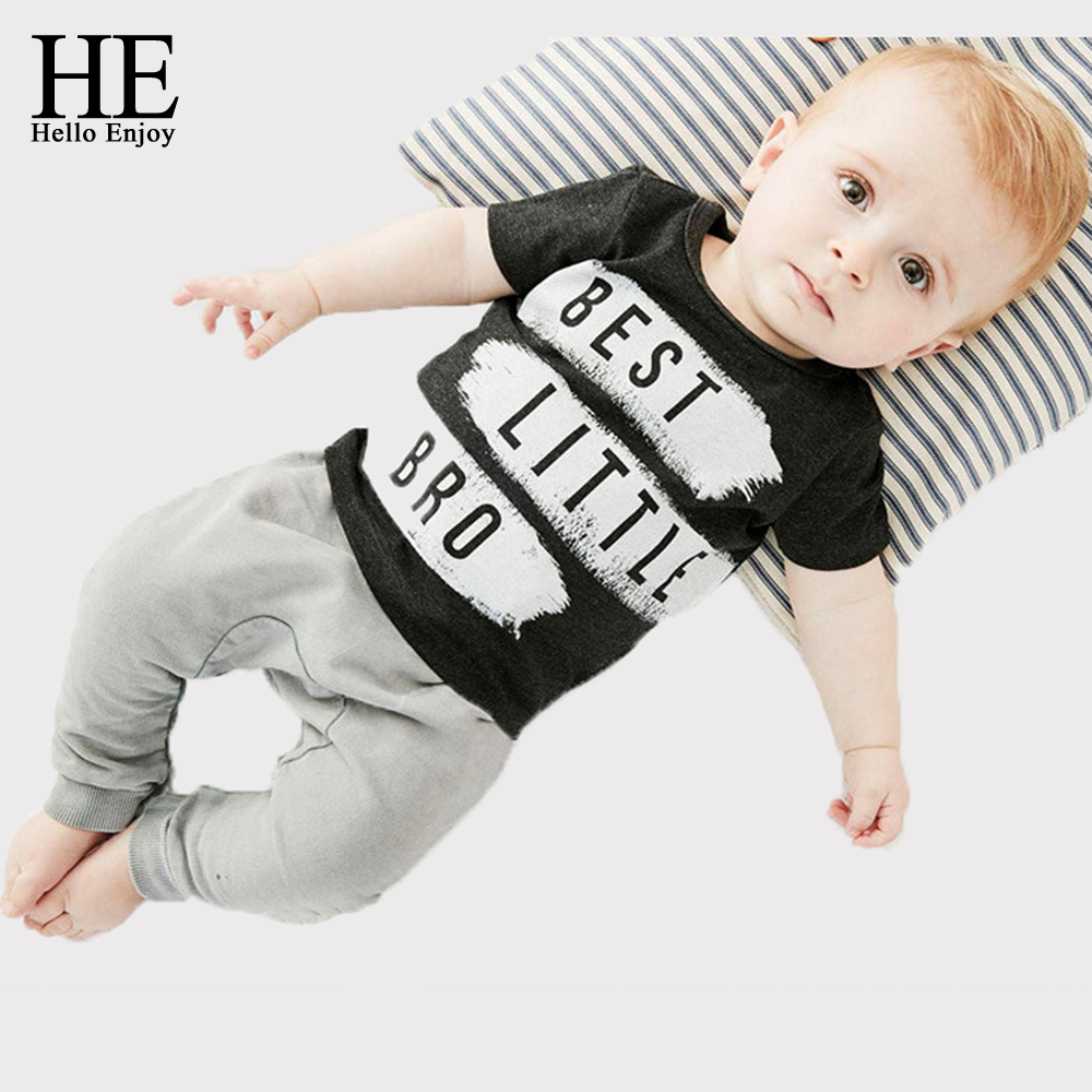 HE Hello Enjoy newborn baby boy clothes 2017 summer infant girl letter print short sleeve T
