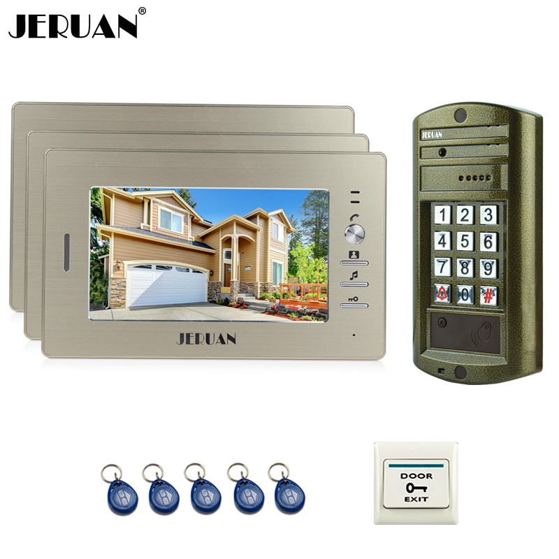 JERUAN 7 inch Color Video Door Phone Speaker Intercom System Kit + NEW Metal Waterproof Access password HD Mini Camera 1V3 jeruan home 7 inch video door phone intercom system kit new metal waterproof access password keypad hd mini camera 2 monitor