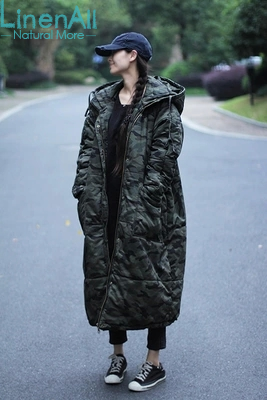 LinenAll women s autumn parkas women s men s 100 cotton vintage camouflage thick wide waisted