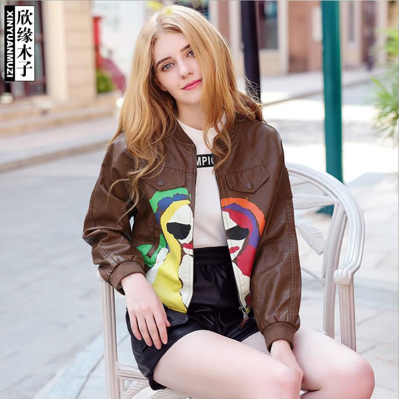 New fashion brand High quality PU   Leather   Windbreakers Jacket female Fashion cartoon pattern Elegant Female Outwear wq1118