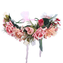 Haimeikang Women Bezel Flower Crown Bridal Floral Headband Wreath New Spring Girls Wedding Hair Accessories Bridesmaid Tiara(China)