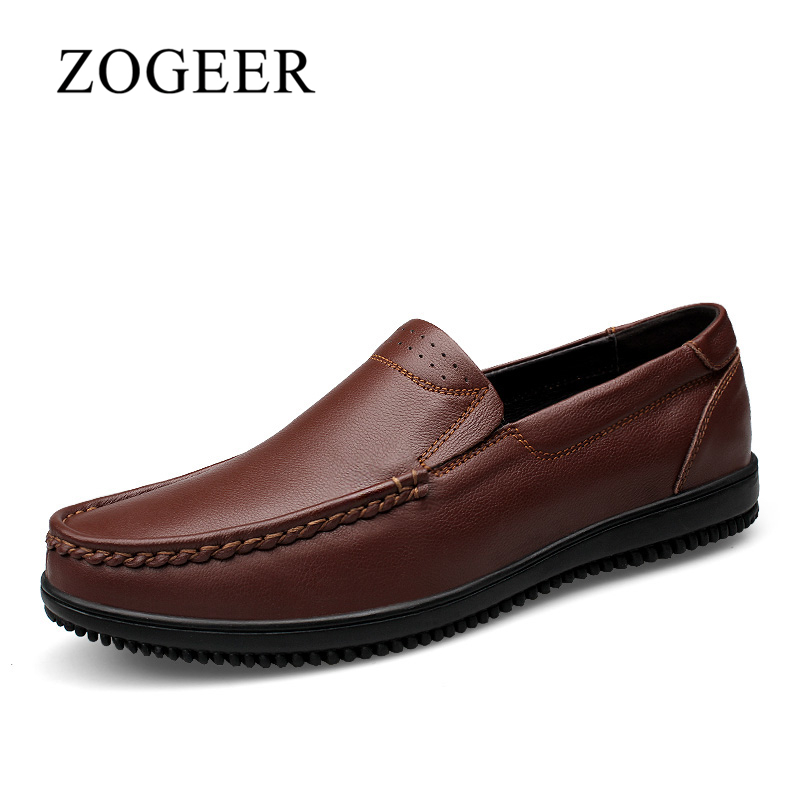 ZOGEER Big Size 38-47 New Men Casual Shoes, Breathable Soft Leather Men Shoes Moccasins, 2017 Fashion Slip On Men Loafers branded men s penny loafes casual men s full grain leather emboss crocodile boat shoes slip on breathable moccasin driving shoes