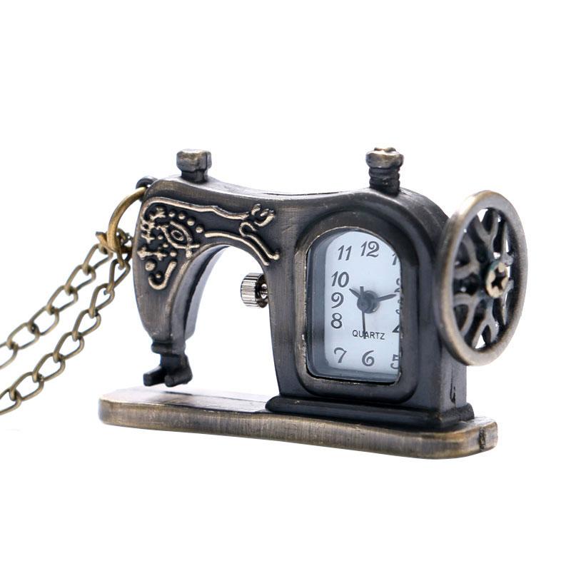 Retro Bronze Sewing Machine Design Pocket Watch With Necklace Chain Best Gift To Men Women Children