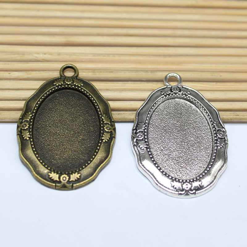 10pcs Blank Round Bezel Tray 25mm Pendant Setting for Resin or Cabochon Findings