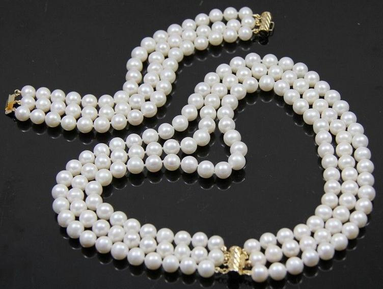 Terisa Pearljewelry 3 Rows AA 8-9MM White Black Color Freshwater Pearl Necklace Bracelet Jewelry Set free shipping hot sale jewelry 3 rows oval white black pearl necklace