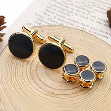 Jin&Ju High Quality Men Jewelry Black Enamel Round Cufflinks Wedding CuffLinks