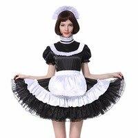 Сисси девушка Дева запираемый черное атласное платье костюм переодеванию плиссированные Стиль Косплэй костюм