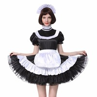 Sissy Girl Maid Lockable Black Satin Dress Costume Crossdress Pleated Style Cosplay Costume