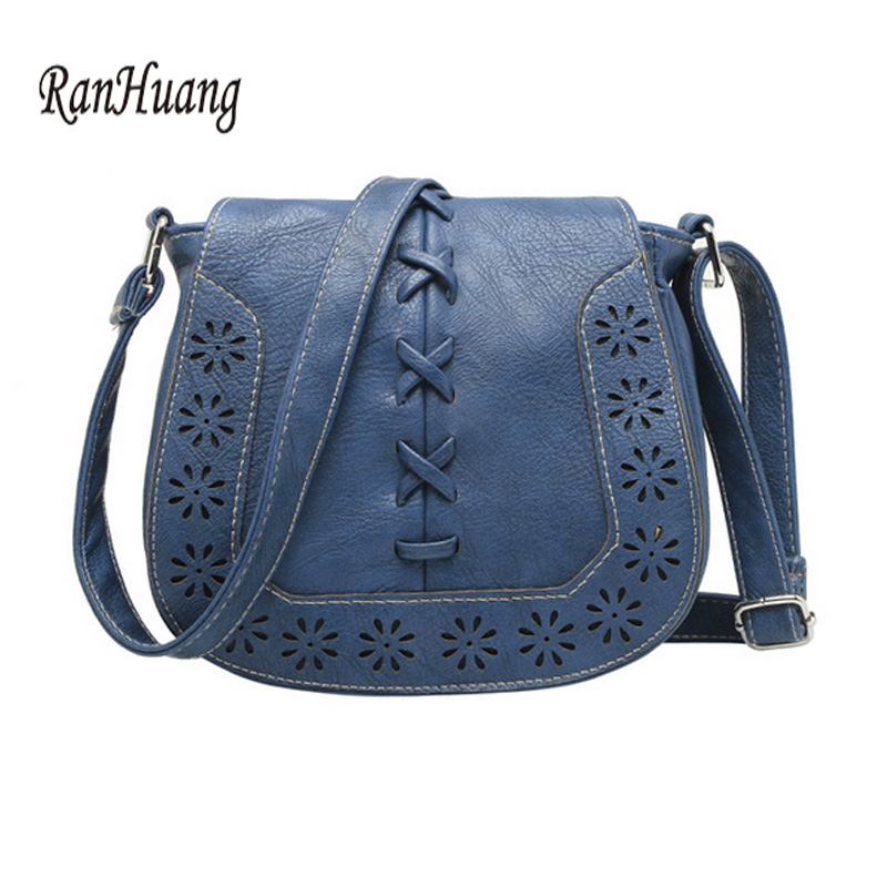 ranhuang 2017 flor escavar bolsas Women Vintage Leather Bag : Women Brown Leather Bag