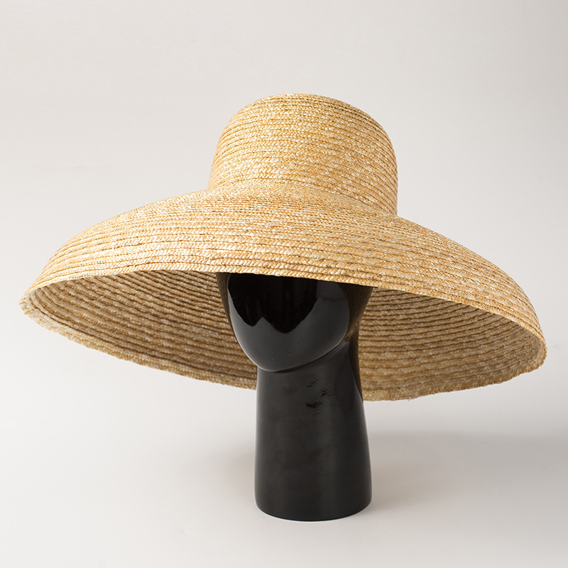 2019 New European and American Retro Elegant Dome Pot Straw Straw Hat Ladies Sunscreen Sunshade Concave Shape Beach Straw Hat