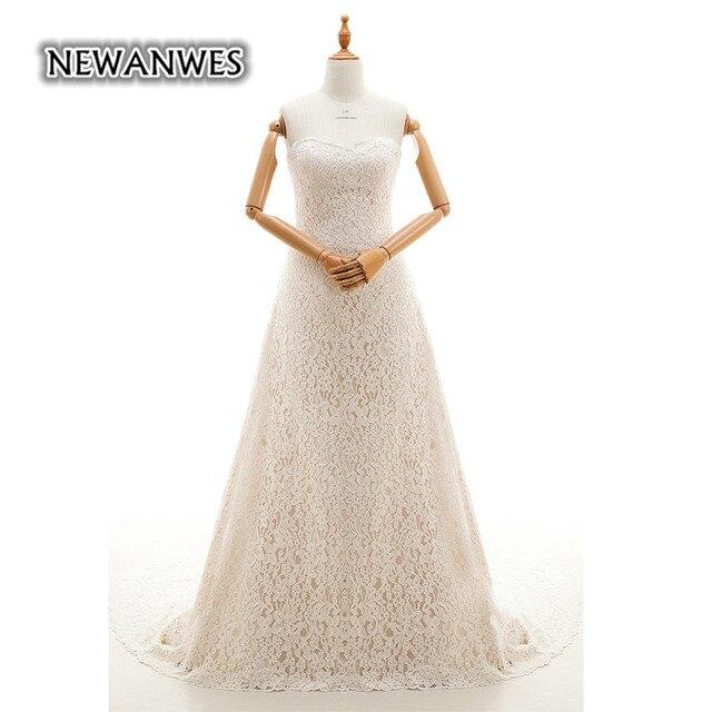 a1f7945d58e3 Newanwes Lace Wedding Dress Sweetheart Strapless Lace Up Back Gentle Lace  Mermaid Wedding Dress Vestido De Noiva