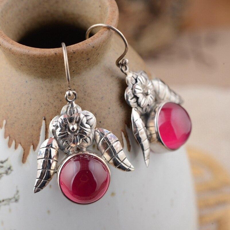 Deer king Yin Shihong corundum wholesale S925 silver inlaid Antique Style Earrings New female personality thai silver earrings s925 zircon silver inlaid white female antique style earrings atmospheric water