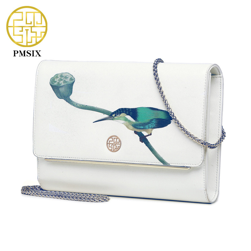 Pmsix 2018 Fashion Brand Design Women Genuine Leather Cloe Bag High Quality Real Cowskin Shoulder Bag Small Chain Clutch Bags