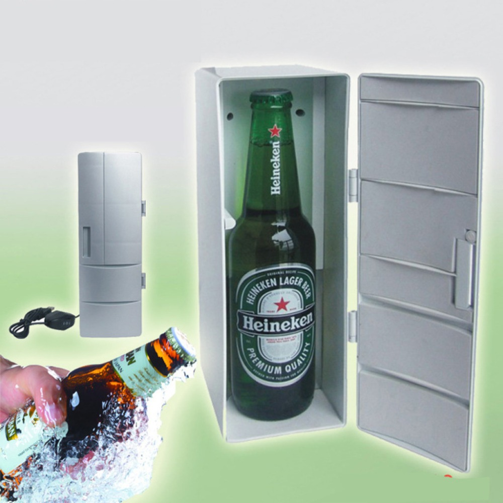 Mini USB Fridge Freezer Cans Drink Beer Cooler Warmer Travel Refrigerator Icebox Car Office Use Portable mini Refrigerator image