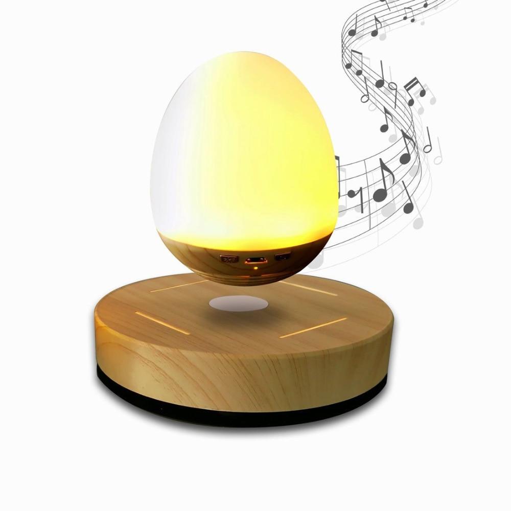 LED Bulb Magnetic Levitating Bluetooth Speaker Wood Grain Base Floating Maglev Speaker Night Light Lamp EU