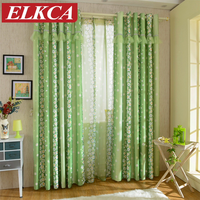 Green Curtains For Living Room Modern Lounge Chairs Rustic Pastoral Floral Bedroom Window Lace And Sequins Curtain Voile