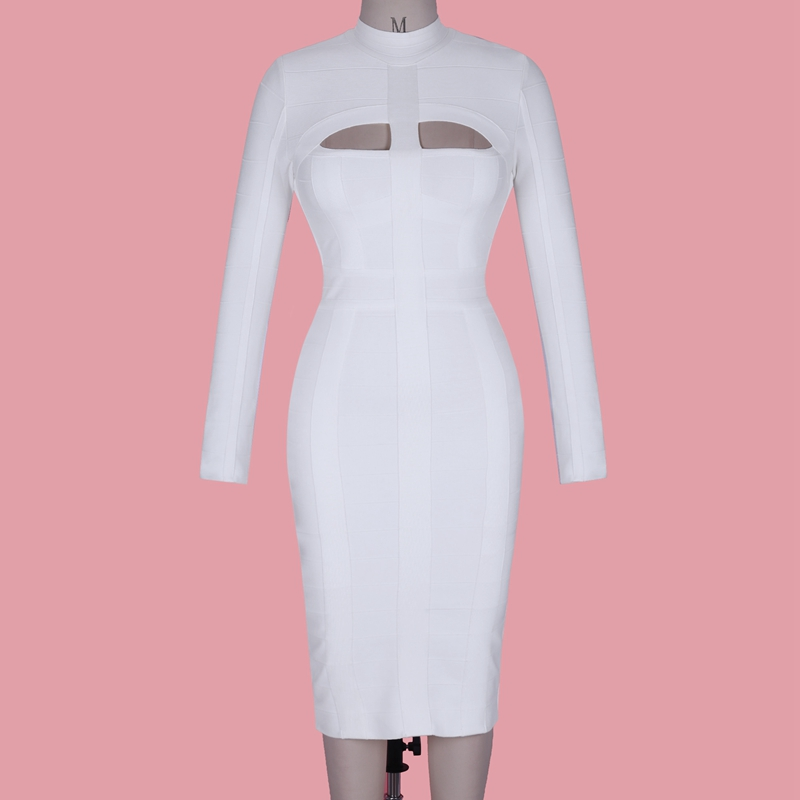 Women White Bandage Dress Bodycon Sexy Cut Out High Neck Long Sleeve Party Rayon Bandage Midi Dress - dresses