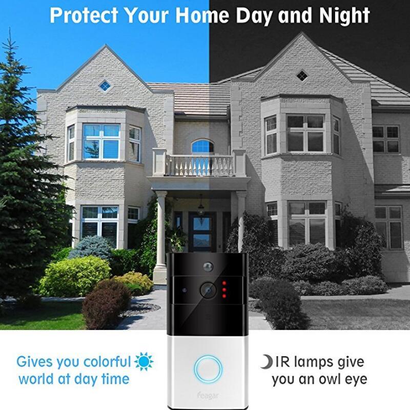 Sonnette vidéo sans fil 1080 P WiFi porte cloche bidirectionnelle parler alarme maison sécurité HD 2.4G téléphone à distance PIR mouvement - 4